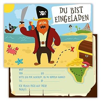 12 Lustige Einladungskarten Im Set Für Kindergeburtstag Party Mit Pirat  Schatzinsel Für Jungen Mädchen Kinder Schatzsuche