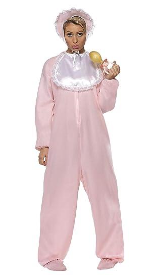 Smiffys Smiffys Disfraz de bebé con pelele, rosado, con enterizo aterciopelado, gorro y