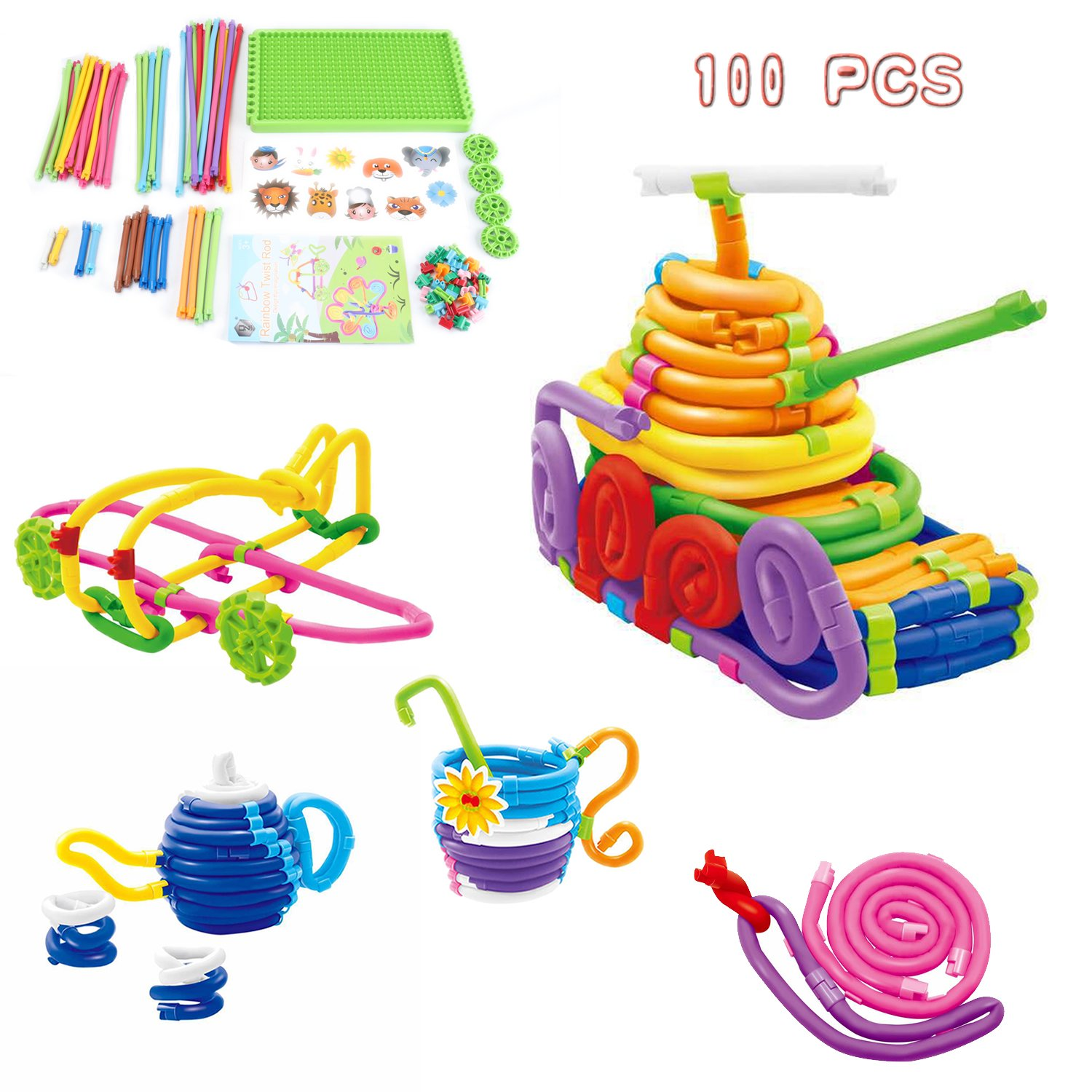 Jujuism Flexible Sticks Folding Rainbow Twist Rod Soft Winding Toy Colorful Bending Stackable Blocks 100PCS Gift for Girls Boys