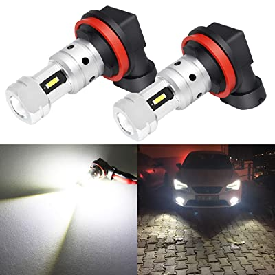 Phinlion 3800 Lumens H8 H11 LED Fog Light Bulb Super Bright High Power H16 LED Bulbs Replacement for Fog and DRL Daytime Running Lights Lamps, 6000K Xenon White: Automotive