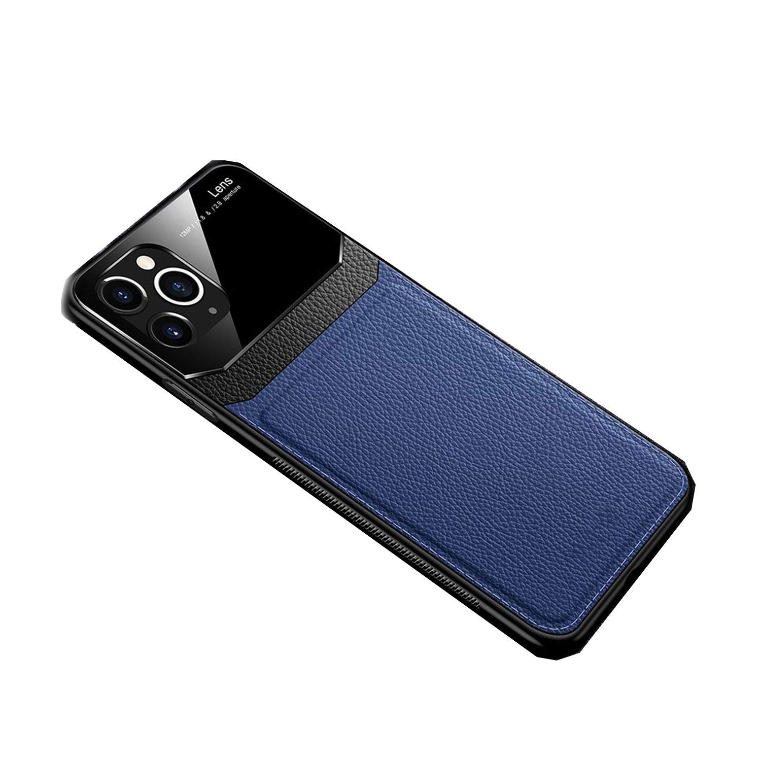 Leather Case for iPhone Xr Xs Max Cases Luxury Leather Mirror Glass Shockproof Cover for iPhone 11 Pro Max Case,for iPhone 11pro Max,Blue