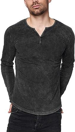 trueprodigy Casual Hombre Marca Camiseta Manga Larga Basico Ropa Retro Vintage Rock Vestir Moda Cuello V Slim Fit Designer Fashion Longsleeve: Amazon.es: Ropa y accesorios
