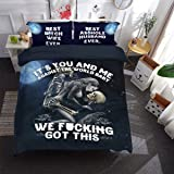 Skull Duvet Cover Set It's You and Me Printed Bedding Duvet Cover with Zipper Closure, 3 Pieces (1 Duvet Cover +2 Pillow Case