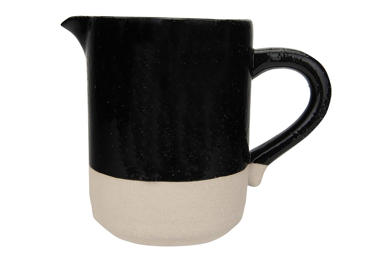 Creative Co-op Black Stoneware Matte Cream Base Pitcher