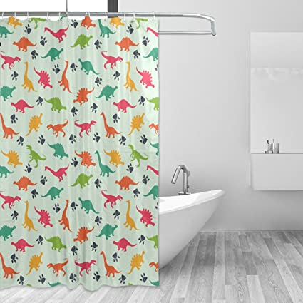 WIHVE Shower Curtain Dinosaur Paw Print 60 X 72 Inch Four Seasons Bath  Decorations Bathroom Accessories