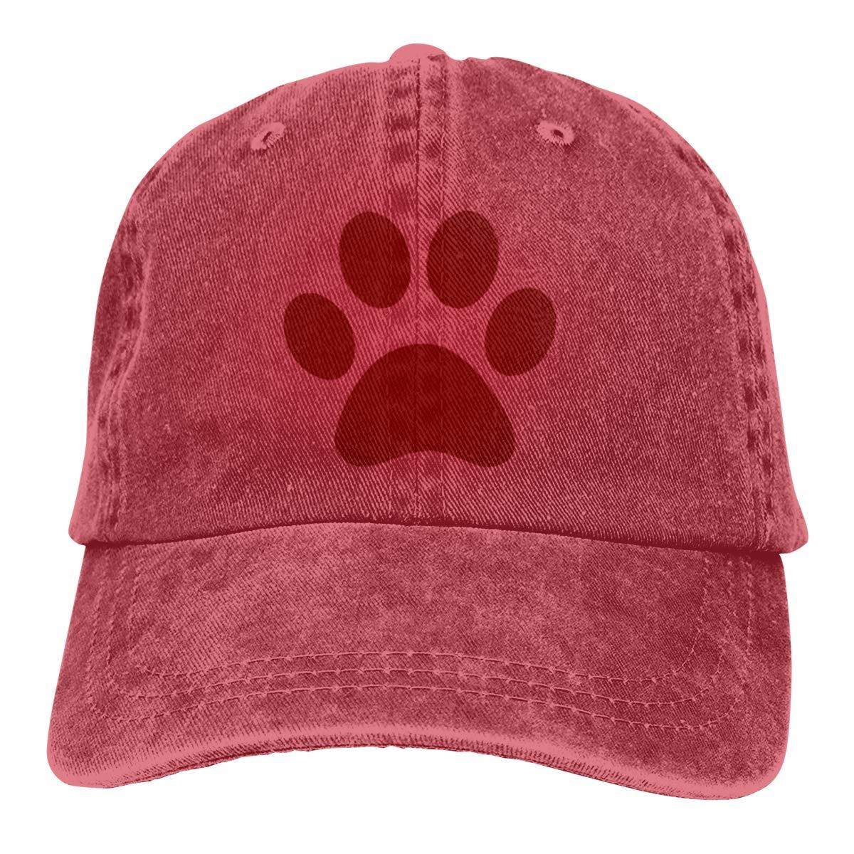 Adult Unisex Jeans Cap Adjustable Hat Cat Paw Clip Art Cotton Denim