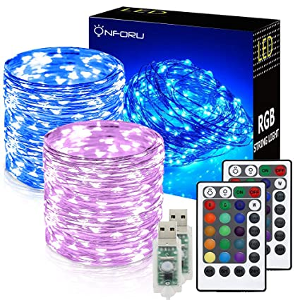 Onforu 2 Pack 33ft Rgb Fairy Lights 16 Colors Changing Outdoor