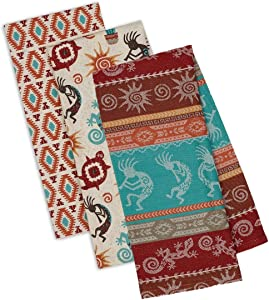 Southwestern Themed Decorative Cotton Kitchen Towel Set | Southwest, Boho, Western Style Print | 3 Towels for Dish and Hand Drying