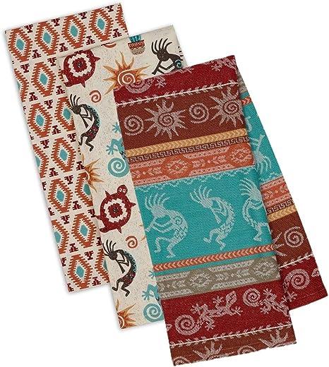 Southwest//Western Decor towel set 3 pc Mocha colorful  southwest border