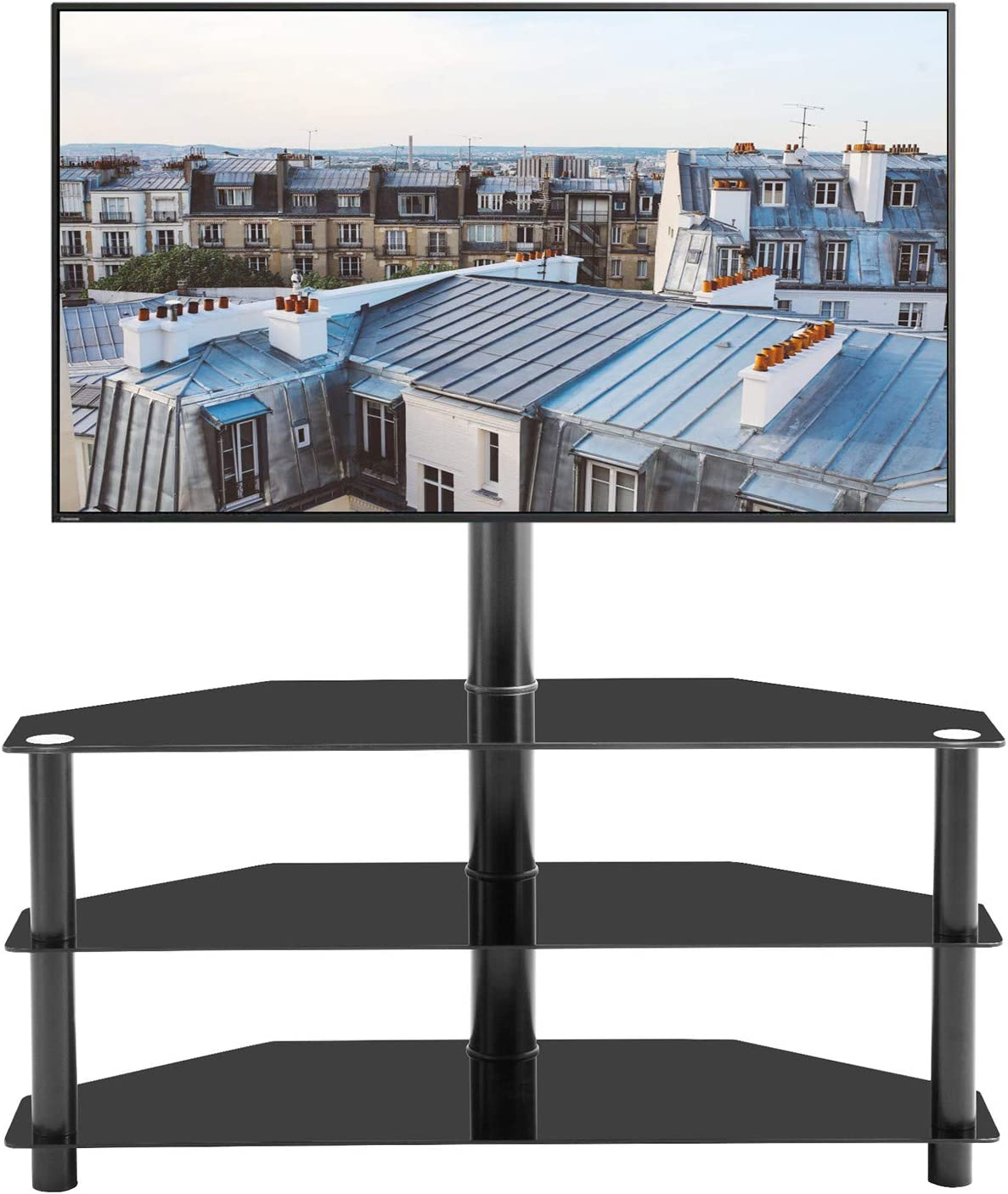 GHEDA 3 Tier Glass TV Stand with Metal Frame Swivel Mount Height Adjustable for 32 37 42 47 50 55 65 inch Plasma Flat or Curved Screen Television, TVs Bracket with 3 layers Media Storage for Xbox, PS4