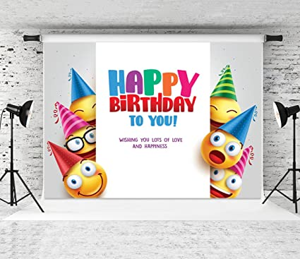 Dudaacvt 7x5ft Vinyl Brithday Emoji Backdrops White Wall Vector Design With Smileys Wearing Birthday Hat Photo