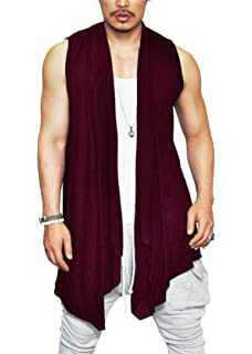 841e1cacdbe COOFANDY Men s Ruffle Shawl Collar Cardigan Lightweight Cotton Blend Long  Length Drape Cape