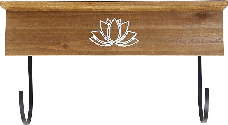 Stratton Home Decor Yoga Mat Holder Wall Shelf, Large, Brown