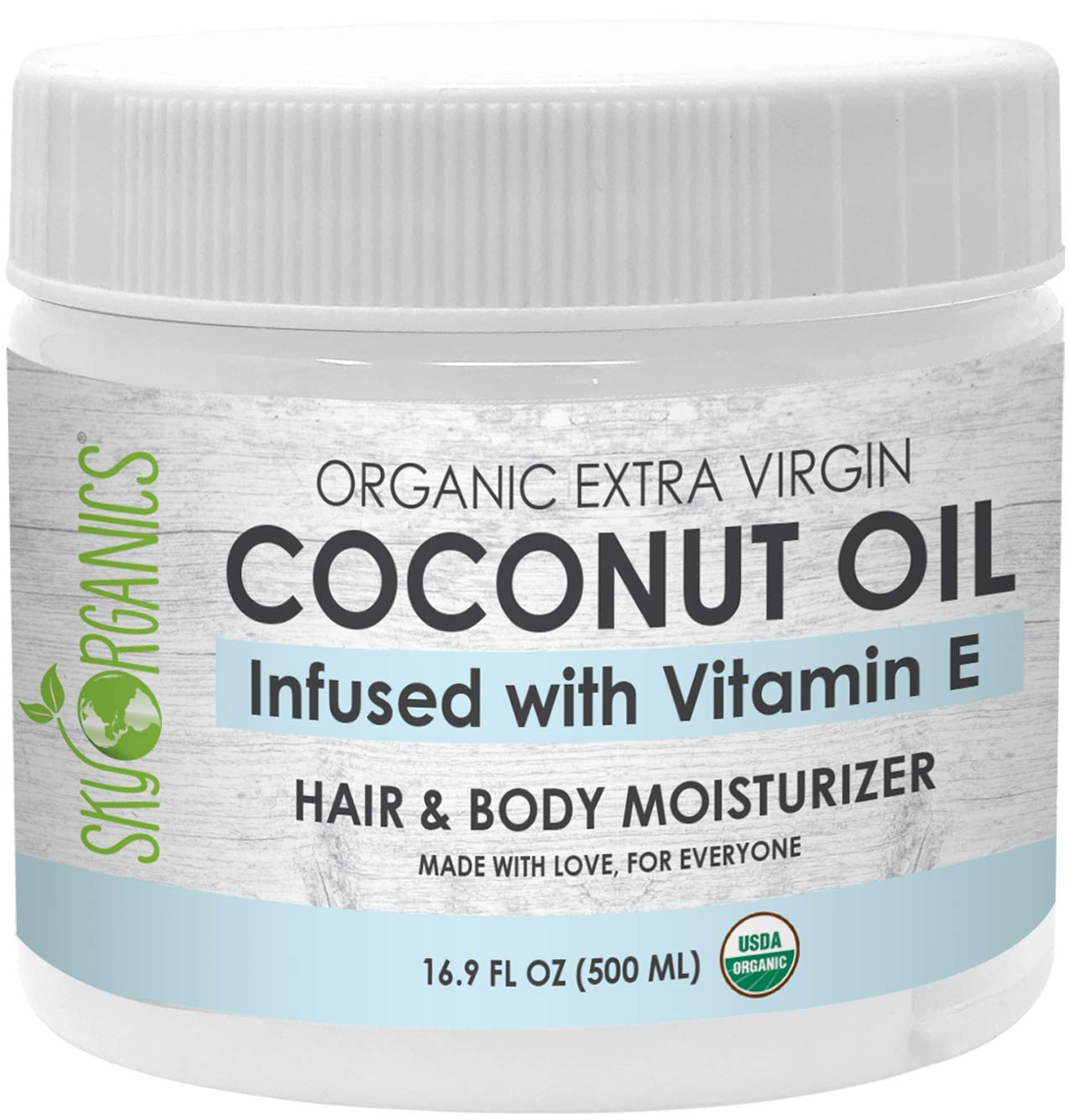 USDA Organic Coconut Oil with Vitamin E (16.9 oz Jar) Pure Vitamin E Infused Coconut Oi - Bio Coconut Oil for Hair and Skin, Coconut Oil Hair Mask
