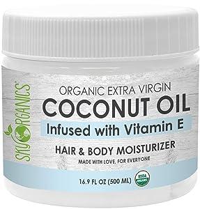 USDA Organic Coconut Oil with Vitamin E (16.9 oz Jar) Pure Vitamin E Infused Coconut Oi - Bio Coconut Oil for Hair and Skin, Coconut Oil Hair Mask