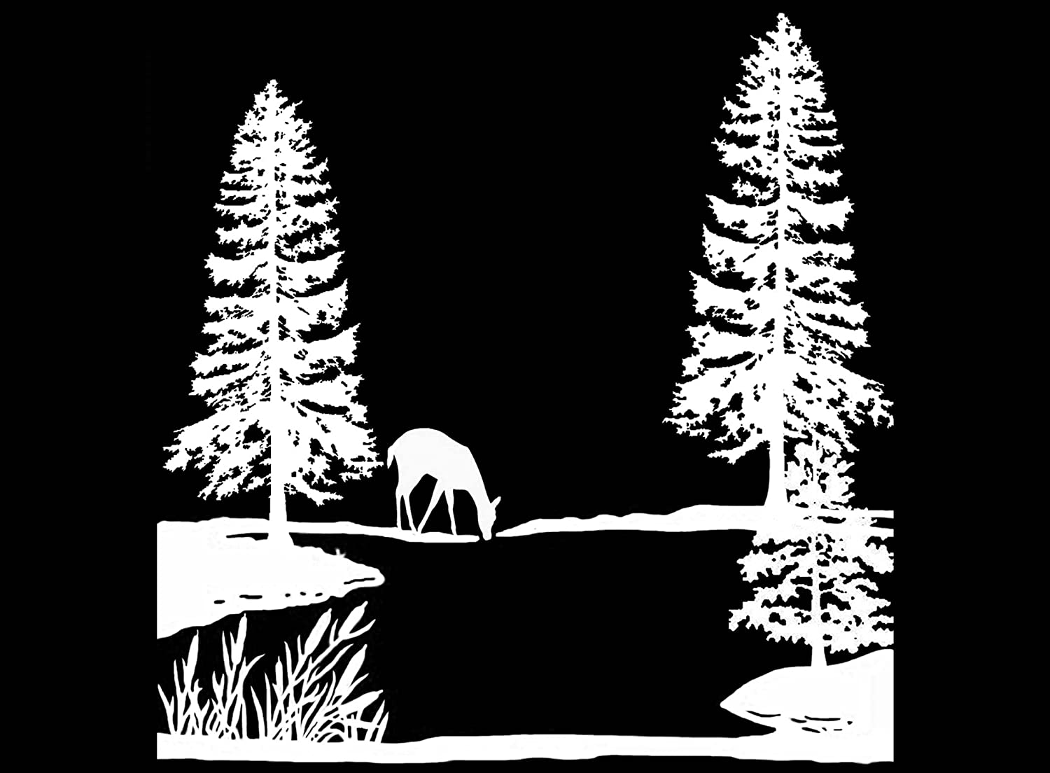Pine Tree Lake Deer Scene 4