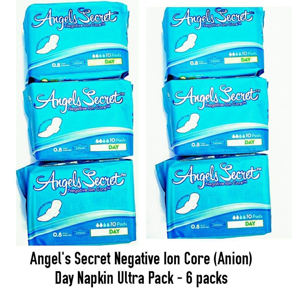 Angels Secret - Sanitary Napkins with wings - Day use 10 pads - Ultra Pack of 6 : Total 60 pads