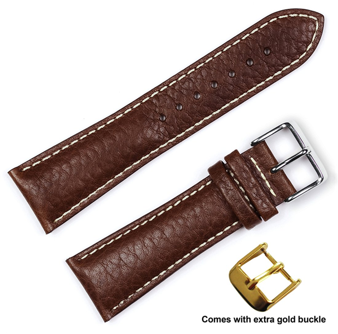deBeer brand Sport Leather Watch Band (Silver & Gold Buckle) - Brown 20mm