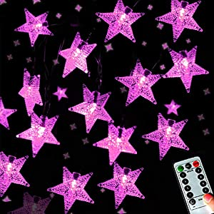 Darknessbreak Pink Fairy Star String Lights, Battery Operated 25ft 50leds Pink String Lights for Girl Bedroom Decorations,Kids Tent,Camping Awning,Indoor Party,Christmas Tree.