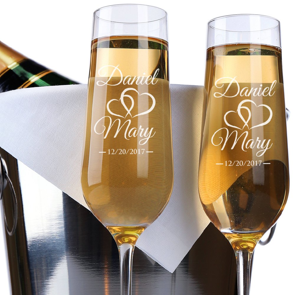 P Lab Set of 2, Bride Groom Names & Date Hearts, Personalized Wedding Toast Champagne Flute Set, Wedding Toasting Glasses - Etched Flutes for Bride & Groom Customized Wedding Gift #N9