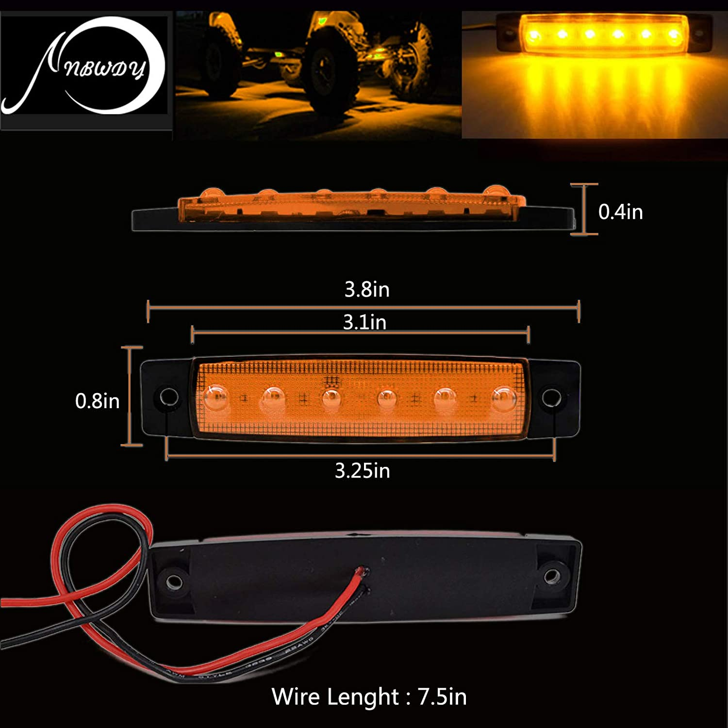 NBWDY 10Pcs Waterproof 3.8 Sealed Amber LED Marker//Rock//Wheel//Underglow Light Kits for Jeep,Snowmobile,Truck,Golf Cart,Lorry,RV,Camper HGV,Offroad Cab,RV,SUV Amber