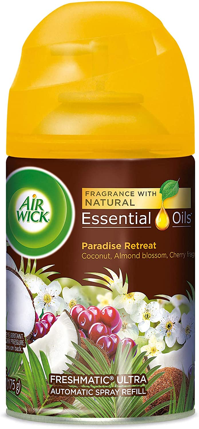 Air Wick Life Scents Automatic Air Freshener Spray, Paradise Retreat with Coconut, Almond Blossom & Cherry Scent, 6.17 oz (Pack of 5)