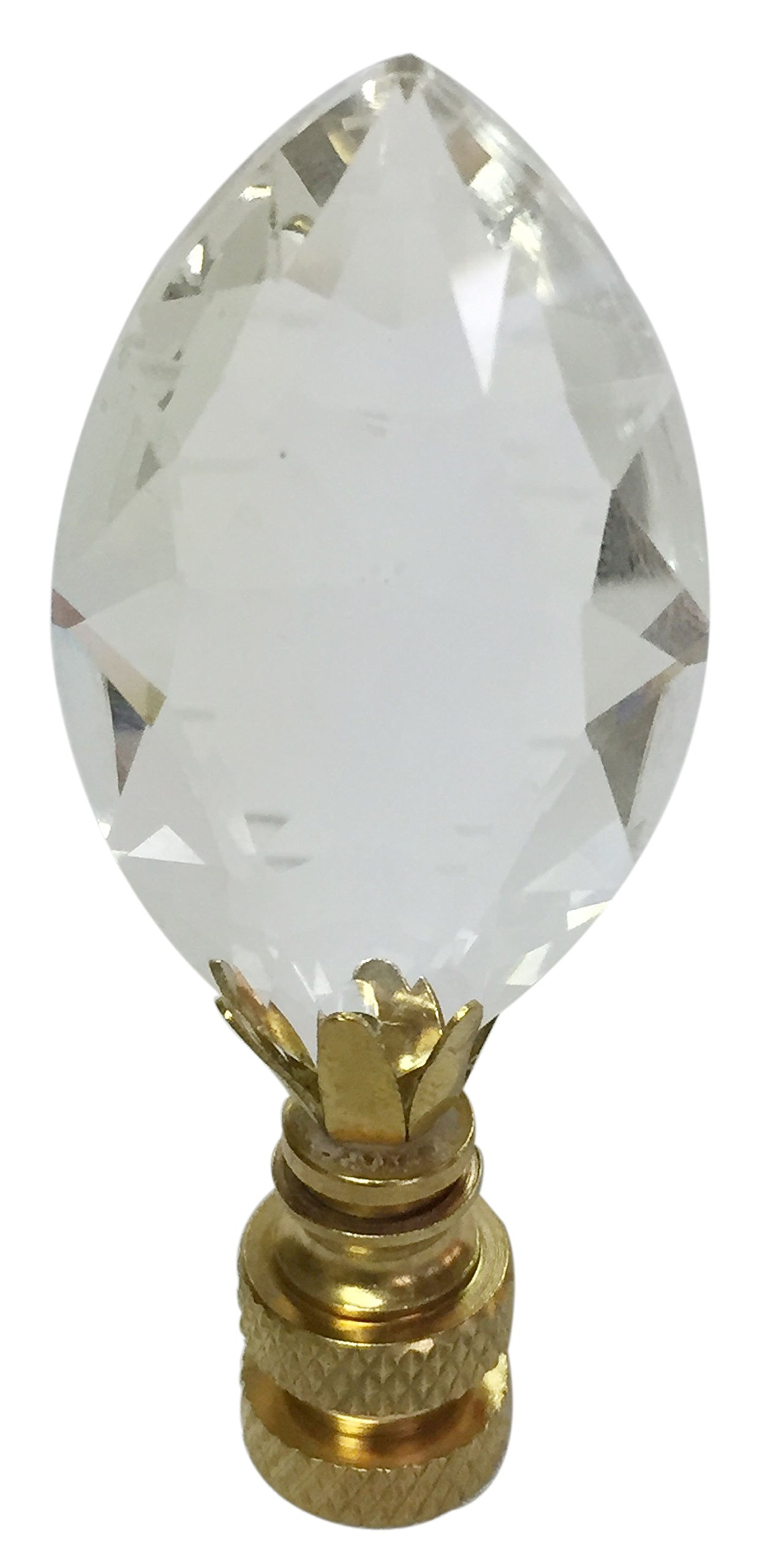 Royal Designs CCF2010-PB-1 Pear Shaped Clear K9 Crystal Finial for Single Lamp Shade with Polished Brass Base