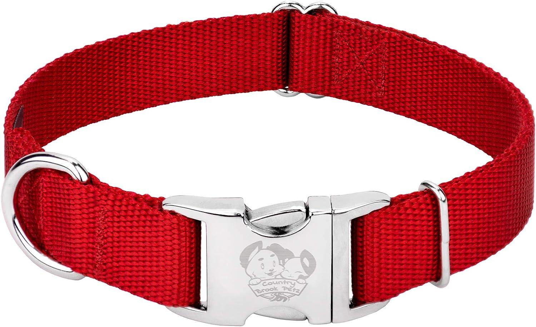 Country Brook Petz - Premium Nylon Dog Collar with Metal Buckle