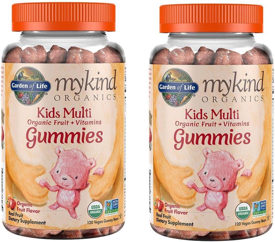 MyKind Organics Kids Multi Organic Real Fruit and Vitamins in Delicious Organic Fruit (120 Vegan Gummy Drops) Pack of 2