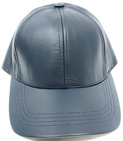 e247ffbbddd Image Unavailable. Image not available for. Color  Made in USA Unisex Genuine  Leather Baseball Cap One Size Fits All - NAVY BLUE
