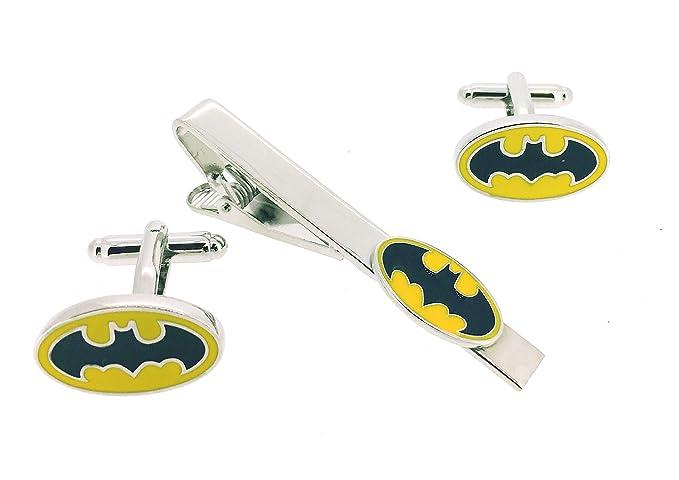 Pack Pasador de Corbata Gemelos para Camisa Batman Logo Amarillo y ...