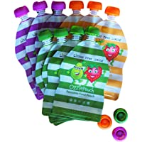Ozzie Pouch Reusable Food Pouch - 10 Pack - 3 Spare Anti Choke lids - 3 Bright Designs - Double Zip Lock - Easy Fill & Clean - Baby Food or Lunch Box