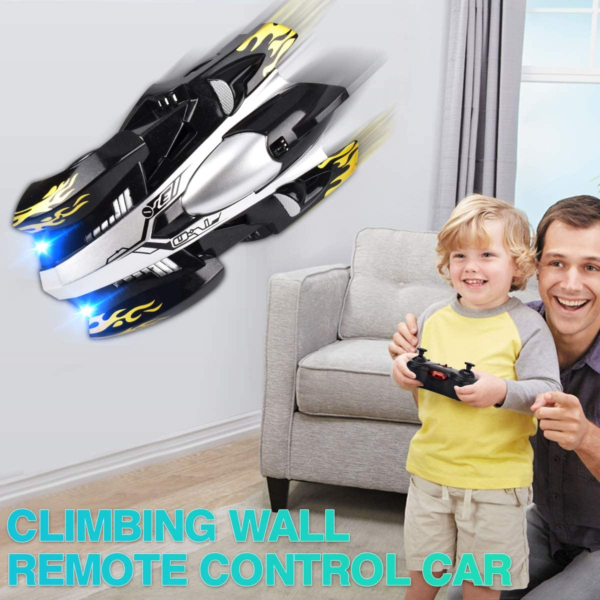 Black INLAIER Remote Control Car Gravity Defying RC Car Race Car Toys for Floor and Wall or Glass Rechargeable Fast RC Car 360/°Rotating Stunt Wall Climbing Car RC Cars for Kids and Adults