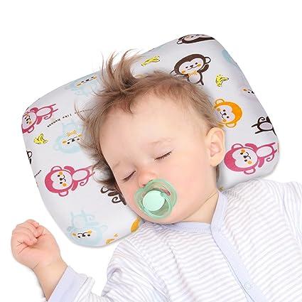 YISSVIC Almohada Bebé Anti Cabeza Plana Almohada Cabeza Niños para Dormir Cojin Anti Plagiocefalia con Forma