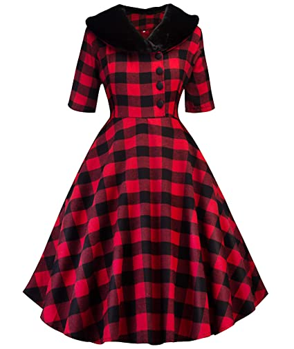 a7e364ea3d1 Tecrio Women 1950 s Vintage Classy Plaid Wide Lapel Rockabilly Party Swing  Dress at Amazon Women s Clothing store