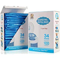 Diaper Pail Refill Bags, Fully Compatible with Arm&Hammer Disposal System Seal and Toss Diaper Pail Refills,1020 Counts…