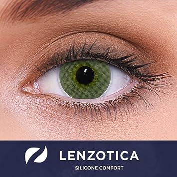 Lentes de contacto verdes naturales Platinum Green de alta cobertura + contenedor de LENZOTICA I 1 par (2 piezas) I DIA 14.00 I sin aumento I 0,00 dioptrías: Amazon.es: Salud y cuidado personal