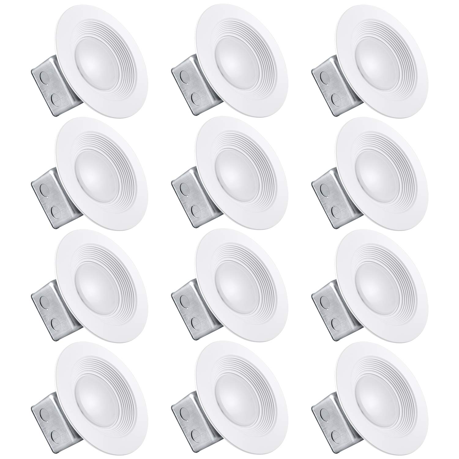 Luxrite 5/6 Inch LED Recessed Light with Junction Box, 15W, 5000K Bright White, Dimmable Airtight Downlight, 1100 Lumens, Energy Star, IC & Wet Rated, 120V - 277V, Recessed Lighting Kit (12 Pack)