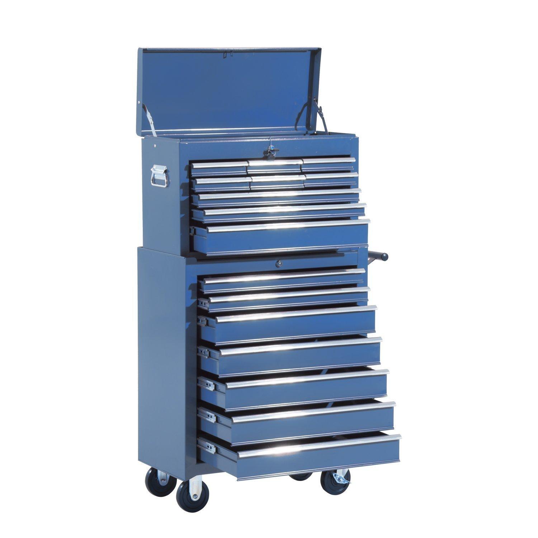 Homcom Fahrbarer Werkstattwagen, abschließ bar mit 16 Schubladen, blau B20-003BU