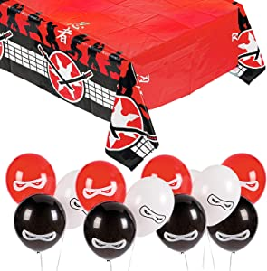 Ninja Party Supplies - Ninja Warrior Table Decorations (Balloons and Plastic Table Cover Set)