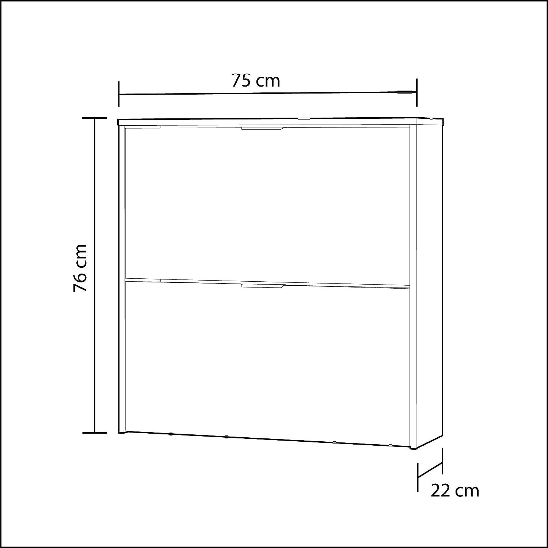 Medidas: 76 x 75 x 22 cm de Fondo Habitdesign 007873O Mueble Zapatero Estrecho Acabado en Color Blanco Zapatero 2 Puertas