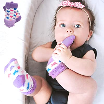 """Nuby Soothing Teether Sock, Purple Butterfly, 5"""" : Baby"""