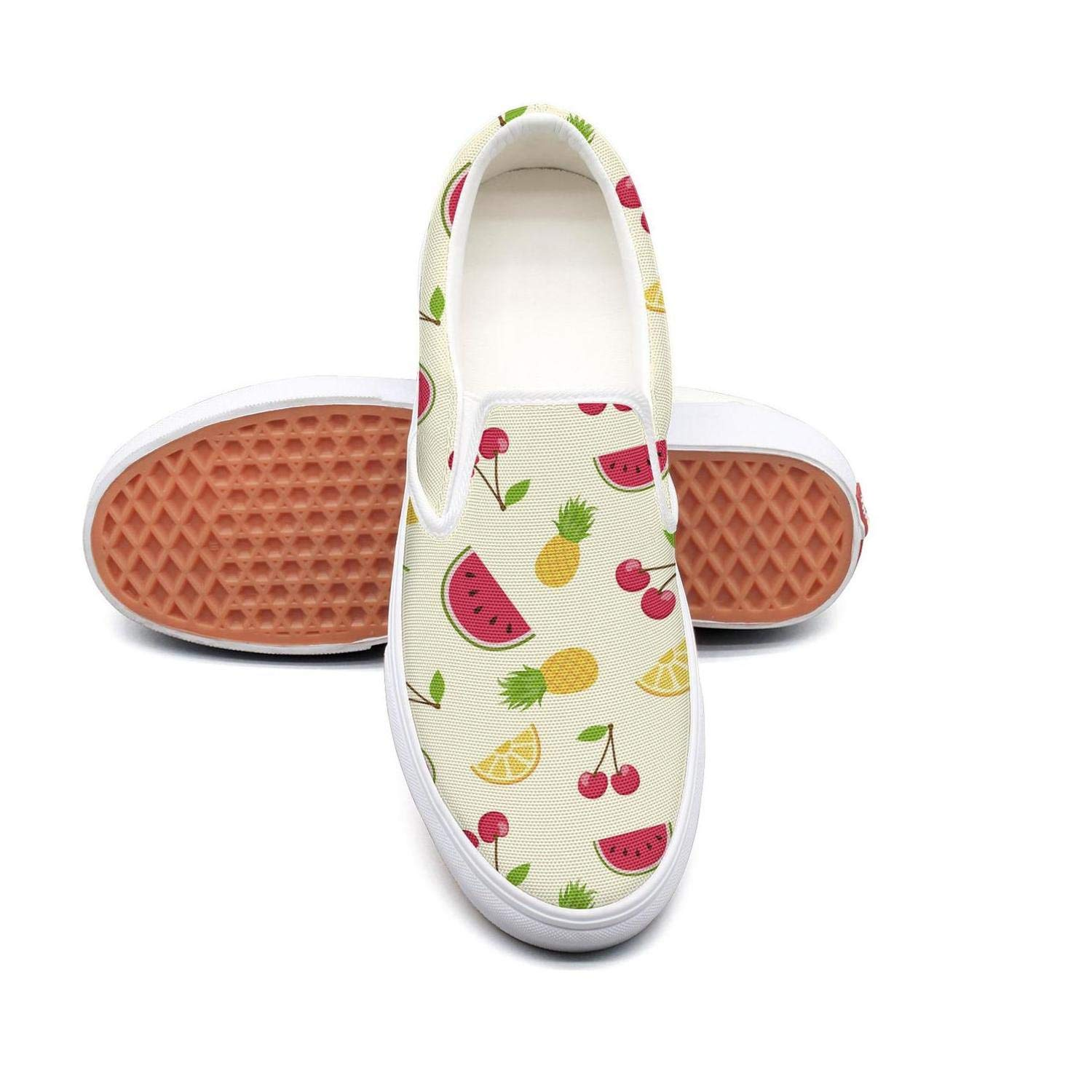 Vosda Natural Watermelon and Pineapple Fruit Classic Women Canvas Slip-On Shoes Sneaker