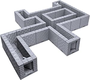 Locking Dungeon Tiles - Halls & Passages, Paintable 3D Printed Tabletop Role Playing Game Terrain Scenery for 28mm Miniatures