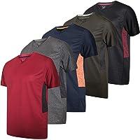 Real Essentials Paquete de 5 Camisetas Deportivas para Hombre con Cuello en V y Ajuste en seco Que absorben la Humedad, Set D, X-Large