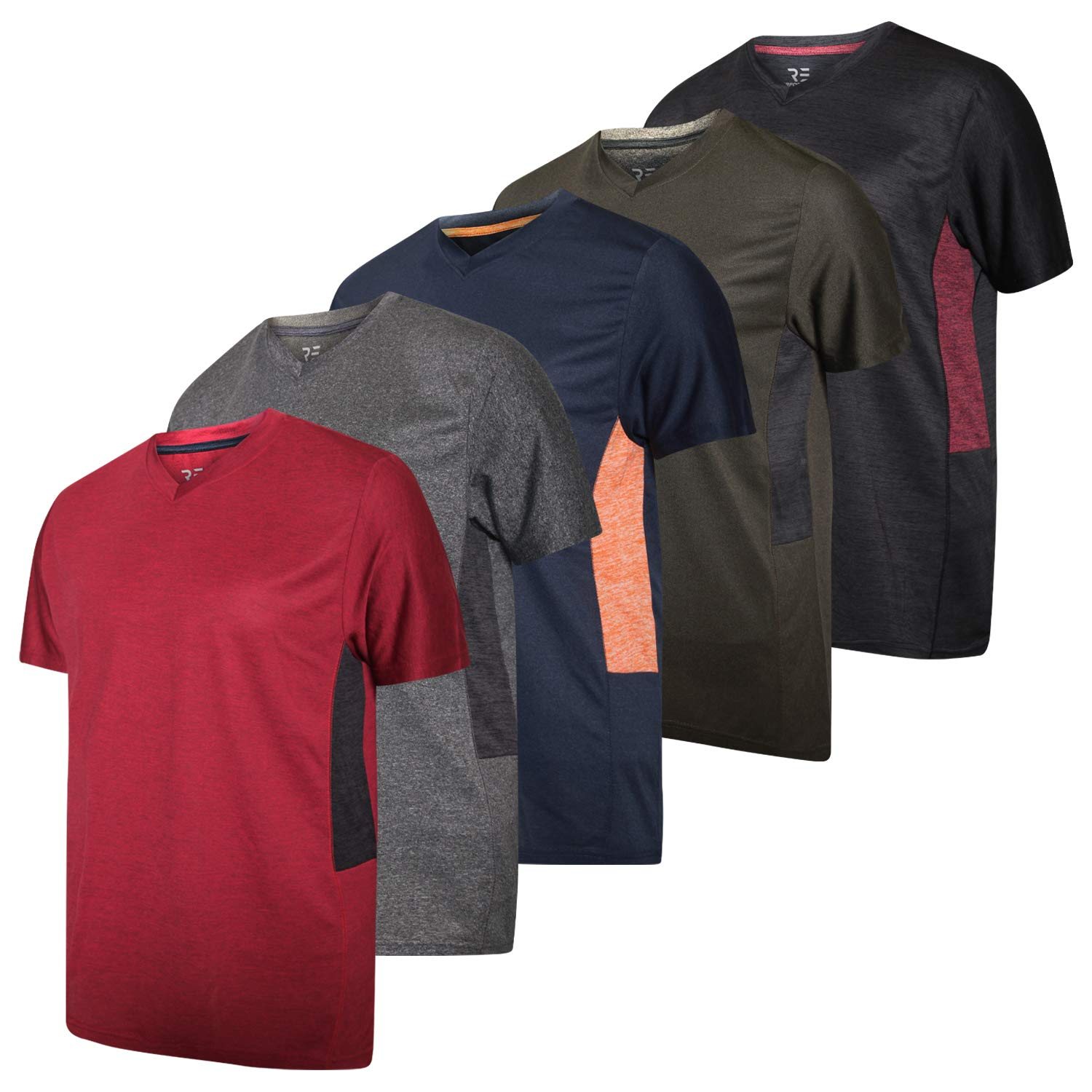 5 Pack:Men's V Neck Quick Dry Fit Dri-Fit Short Sleeve Active Wear Training Athletic Essentials T-Shirt Tee Fitness Gym Workout Undershirt Top-Set 4,XL by Real Essentials