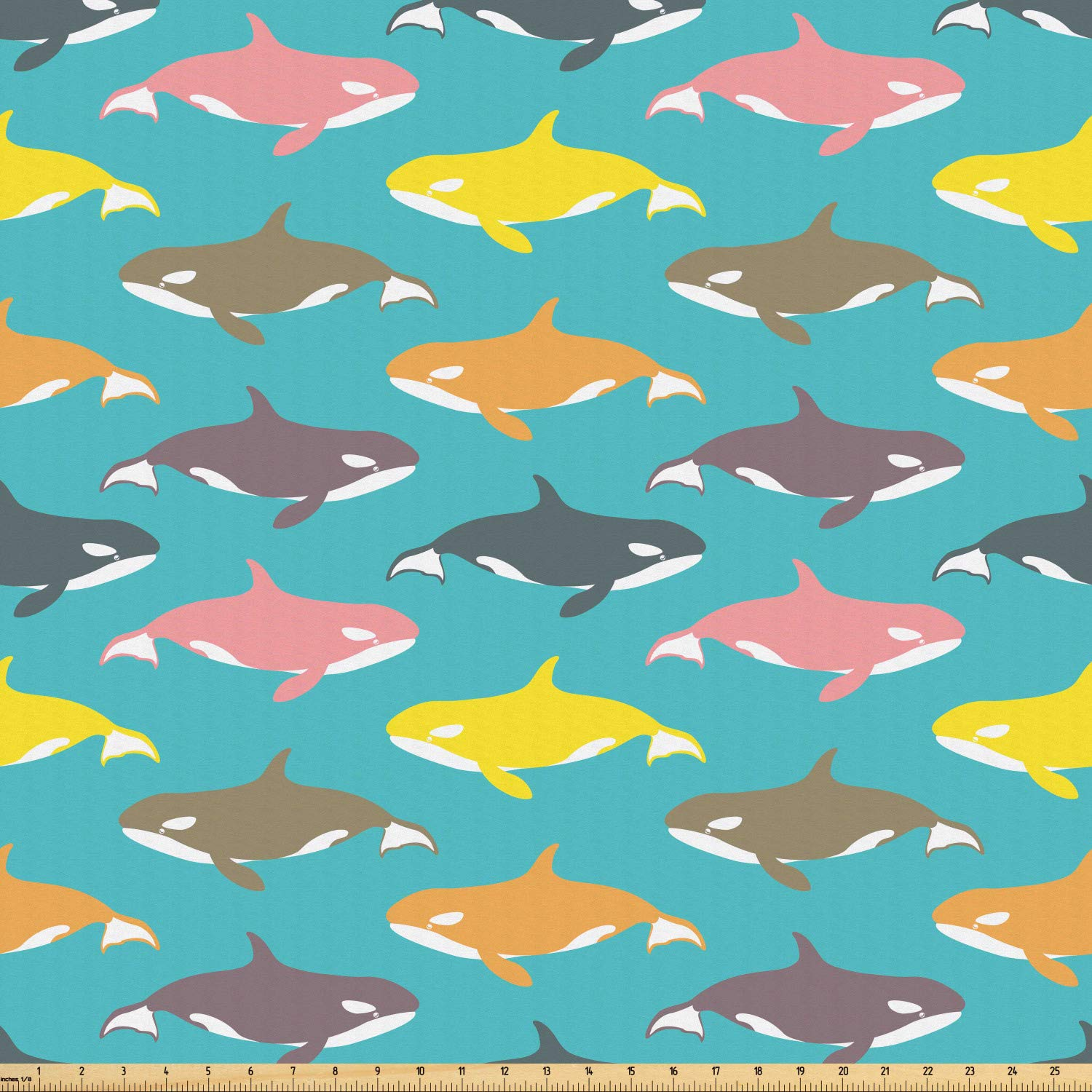 Amazon com: Ambesonne Whale Fabric by The Yard, Colorful