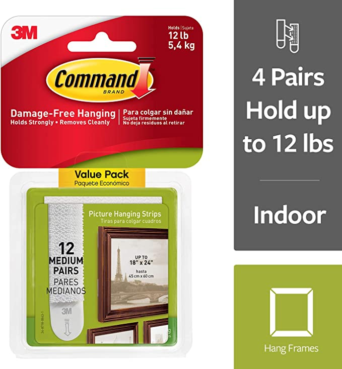 3M Command Picture Frame Photo Poster Canvas Hanging Adhesive Strips - Large
