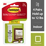 3M Command Picture Hanging Strips, 4 pairs hold 12 lbs, Hang Damage-Free, Create Gallery Walls, 12 Pairs (24 Strips, Value Pack, Hangs 3-6 frames (17204-12ES)