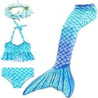 Hosko 4 Piezas de Trajes de baño de Bikini Sirena para niñas para niñas Regalo de cumpleaños 3-13 años